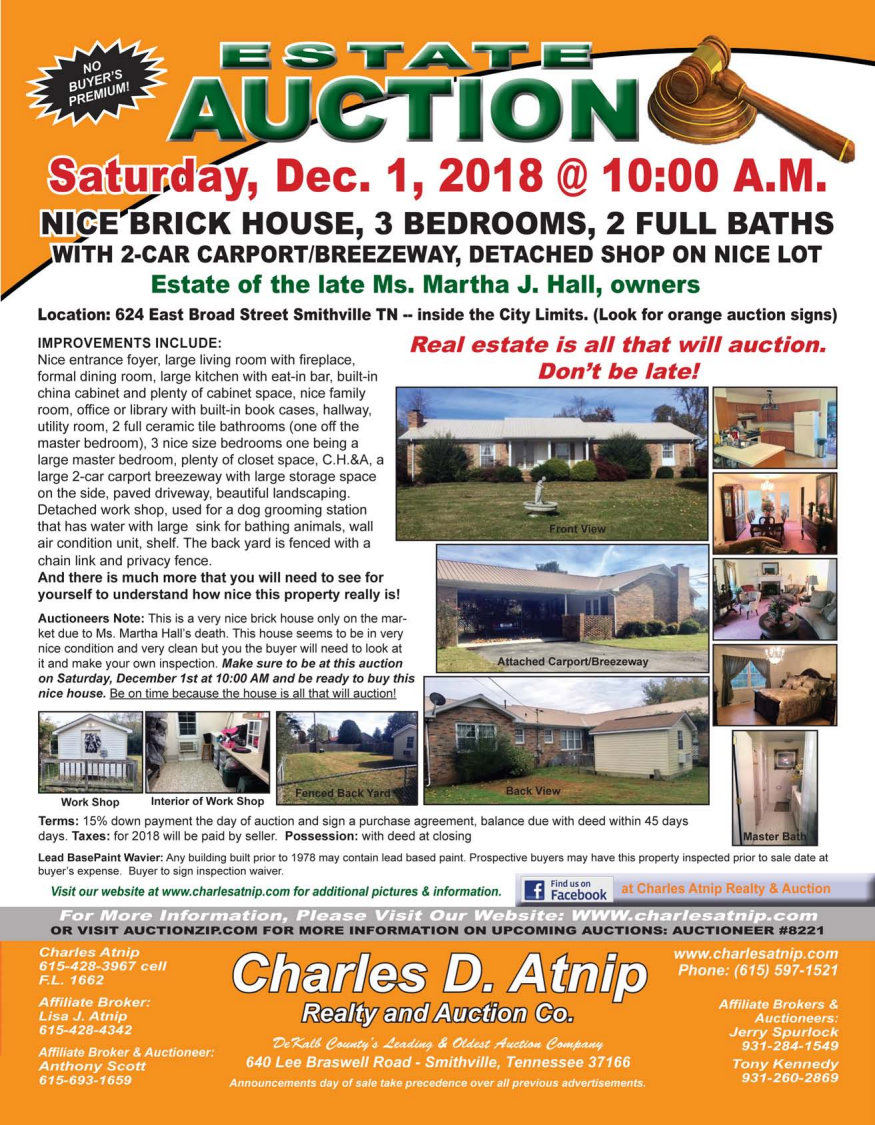 auction flyers charles atnip realty auctions